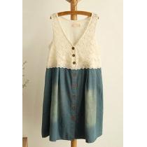 Buttoned Crochet Lace Tank Top Sleeveless Denim Dress
