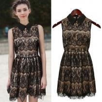 lack Lace Turndown Collar Fringed Bodycon Tank Dress