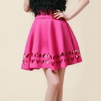 Cut Out Elasticated Waistband High Waist Pleated Skirt