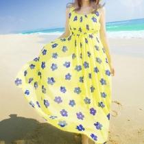 Blue Floral Print Maxi Halter Dress Beach Sundress