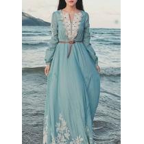 Embroidery Flower Long Sleeve High Waisted Maxi Dress