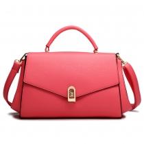 Bright Color Top Handle Tote Shoulder Flap Bag Handbag