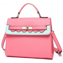 Contrast Color Top Handle Tote Messenger Shoulder Bag Handbag