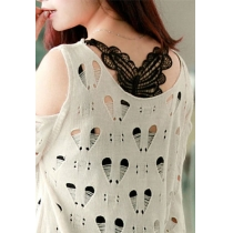 Black Stretchy Crochet Butterfly Basic Racerback Top Camisole
