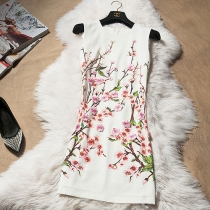 Elegant Blooming Floral Print Flower Applique Sleeveless Dress