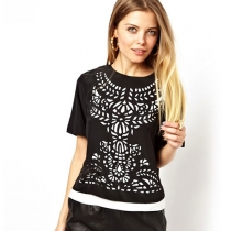 Contrast Color Laser Cut Short Sleeve T Shirt Tops