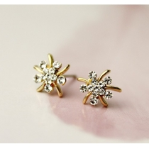Current Elegant Bling Rhinestone Flower  Earings