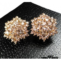 Elegant Glitter Hexagonal Crystal Earrings Studs