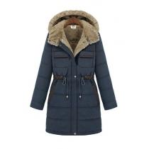 Gorgeous European Style Warm Pure Color Fleece Lining Sash Hooded Coat