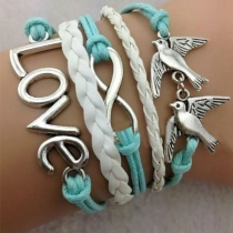 Romantic Retro LOVE Double Birdie Multi-layers Bracelet