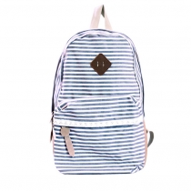 Retro Strip Print Lace Canvas Backpack