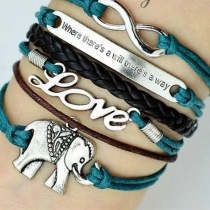 Retro Romantic LOVE Elephant Letters Multi-layers Bracelet