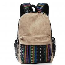 Folk Style Vertical Stripe Mixing Color Canvas Backpack Bag