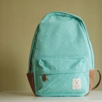 Sweet Polka-dot Print Mint Green Canvas Backpack