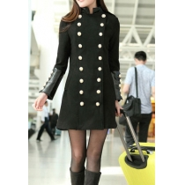 Military Style Stand Collar Double Breast Solid Color Tweed Coat