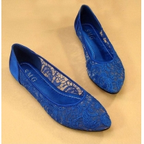 Elegant Retro Solid Color Floral Crochet Lace Flats Shoes