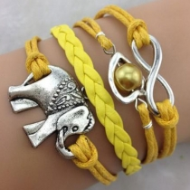 Antique Silver Elephant Pendant Bead Yellow Multi-layer String Bracelet