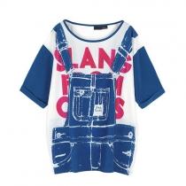 Street-chic Style Red Letter Denim Suspender Print T-Shirt