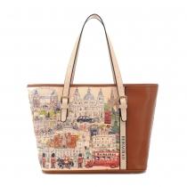 Retro Contrast Color City  Scence Print Handbag