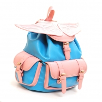 Street-chic Angel Wing Contrast Candy Color Backpack Travelling Bag