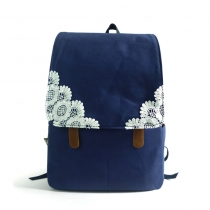 Sweet Simple Contrast Color Lace Backpack Canvas Flap Backpack Bag