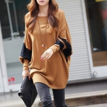 Casual Batwing Sleeve Contrast Color Loose Fitting Pullover Shirt