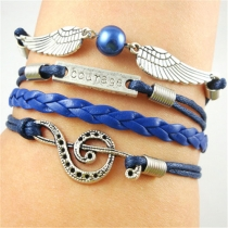Multi Layers Musical Notes Angel Wings Courage Infinity Bracelet