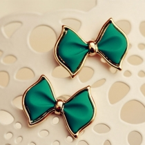 Cute Stylish Jewelry Blue Green Sweet Bowknot Stud Earring