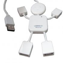 USB 2.0 Man Shape 4 Port High-speed Mini Hub Split Extension Cable for PC Laptop