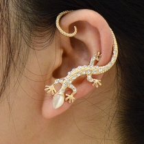 Chic Rose Gold Rhinestone Lizard Ear Cuff Clip On Earring