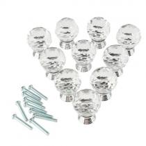 10 Pcs 30mm Glass Clear Cabinet Knob Drawer Pull Handle Kitchen Door Wardrobe Hardware