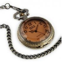 Dark brown glass vintage pocket watch