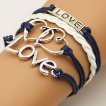 Vintage Love and Heart Multi-layer String Infinity Charm Bracelet