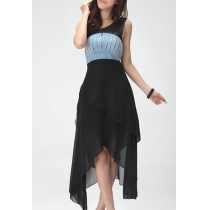 Asymmetric Tiered High Waist Pleated Sleeveless Maxi Dress
