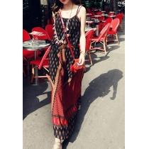 ribal Abstract Print Adjustable Maxi Slip Dress Sundress