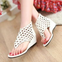 Caged Cutout Wedge Heel Thong Sandal Summer Ankle Bootie