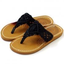 Boho Sunflower White/Black Braided T Strap Thong Sandal