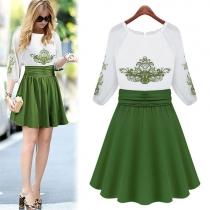 Celebrity Short Sleeve Wide Waistband Green Embroidery Dress