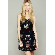 Tribal Embroidery Flower Open Back Slip Dress Sundress