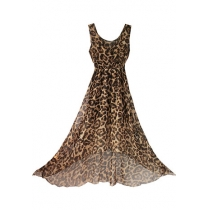 Low Cut V Neck Leopard Print Sleeveless Maxi Dress