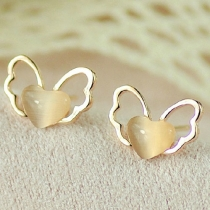 Angel Wings Cut Out Love Heart Opal Studded Earring