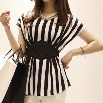 Black and White Stripe Short Sleeve Bodycon Blouse Top