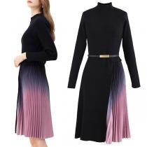 Fashion Color Gradient Pleated Hem Long Sleeve Mock Neck Slim Fit Knit Dress