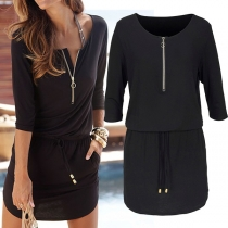 Fashion Solid Color 3/4 Sleeve Drawstring Waist Dress