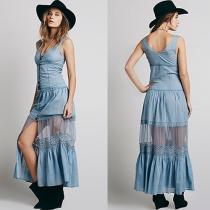 Fashion V-neck Lace Spliced Sleeveless Maxi Dress