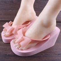 Bowknot High Wedge Heel Platform Flip Flop Thong Sandal