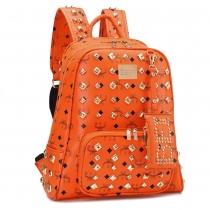 Gold Tone Metallic Rivet Computer Travel School Bag Backpack