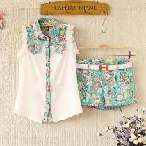 Folk Vintage Fresh Contrast Color Ruffle Floral Print Shirt & Shorts Set