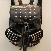 Cool European Punk Style Rivet Black Bag Backpack