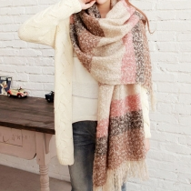 Warm Retro Stripe Mixing Color Fringe Women's Long Mohair Scarf